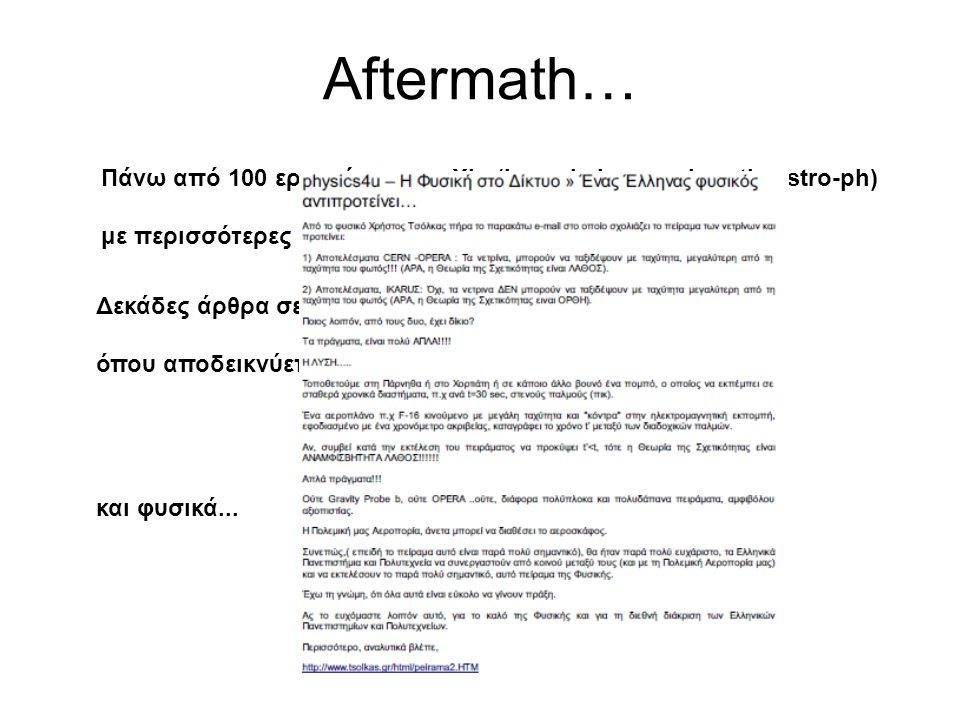 Aftermath… Πάνω από 100 εργασίες στο arXiv (hep-ph, hep-ex, hep-th, astro-ph) με περισσότερες από τις μισές τις πρώτες 2-3 εβδομάδες...