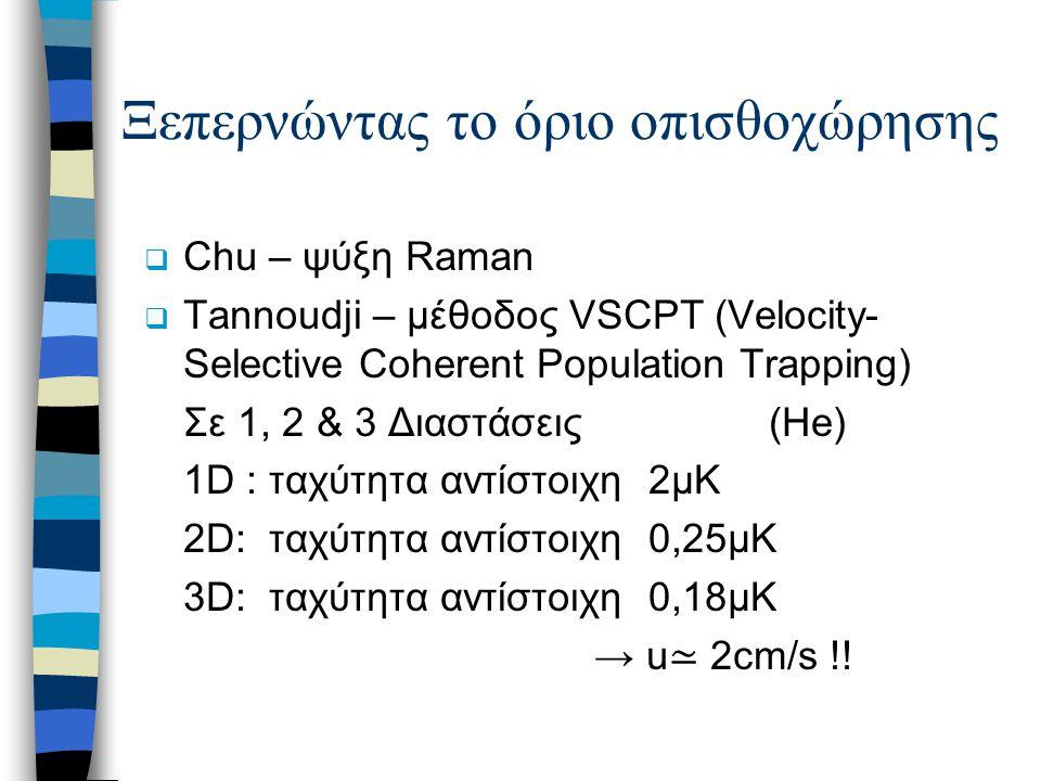 Ξεπερνώντας το όριο οπισθοχώρησης  Chu – ψύξη Raman  Tannoudji – μέθοδος VSCPT (Velocity- Selective Coherent Population Trapping) Σε 1, 2 & 3 Διαστά