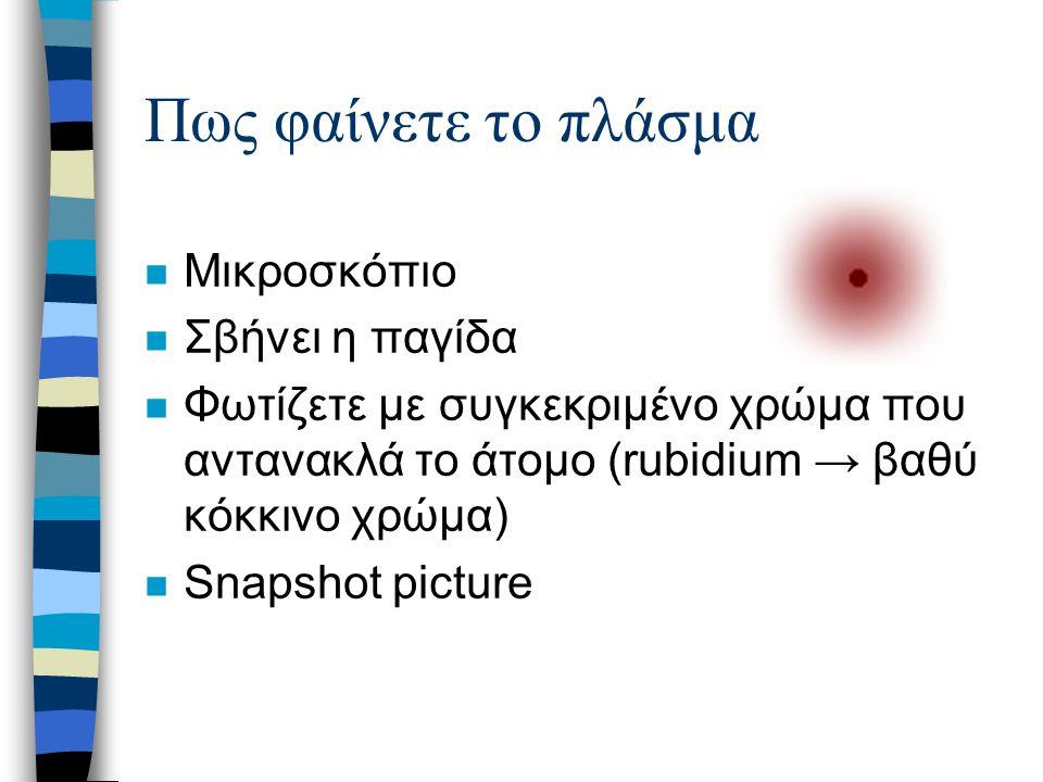 Πως φαίνετε το πλάσμα n Μικροσκόπιο n Σβήνει η παγίδα n Φωτίζετε με συγκεκριμένο χρώμα που αντανακλά το άτομο (rubidium → βαθύ κόκκινο χρώμα) n Snapsh