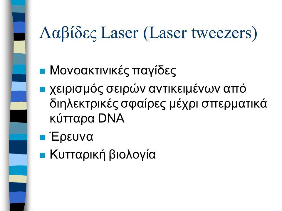 Λαβίδες Laser (Laser tweezers) n Μονοακτινικές παγίδες n χειρισμός σειρών αντικειμένων από διηλεκτρικές σφαίρες μέχρι σπερματικά κύτταρα DNA n Έρευνα