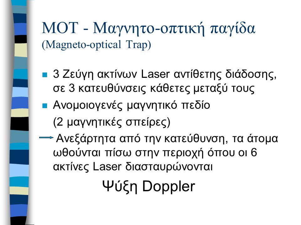 ΜΟΤ - Μαγνητο-οπτική παγίδα (Magneto-optical Trap) n 3 Ζεύγη ακτίνων Laser αντίθετης διάδοσης, σε 3 κατευθύνσεις κάθετες μεταξύ τους n Ανομοιογενές μα