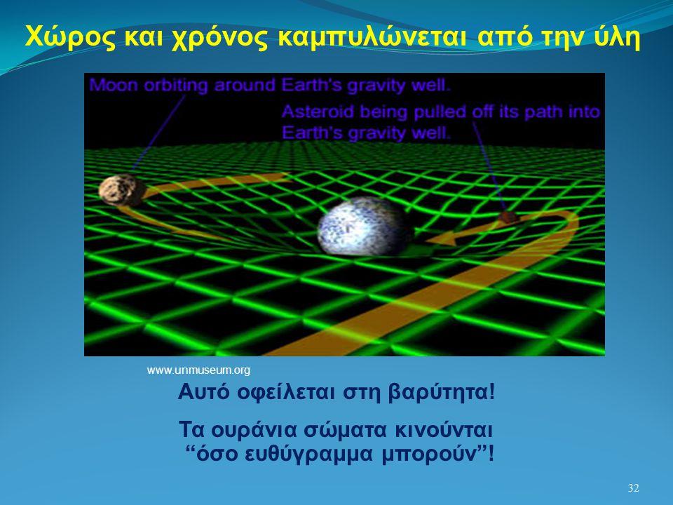 """32 Χώρος και χρόνος καμπυλώνεται από την ύλη Αυτό οφείλεται στη βαρύτητα! Τα ουράνια σώματα κινούνται """"όσο ευθύγραμμα μπορούν""""! www.unmuseum.org"""