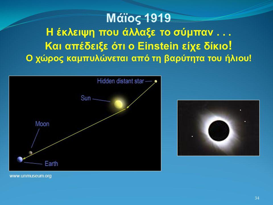 34 Μάϊος 1919 Η έκλειψη που άλλαξε το σύμπαν... Και απέδειξε ότι ο Einstein είχε δίκιο ! Ο χώρος καμπυλώνεται από τη βαρύτητα του ήλιου! www.unmuseum.