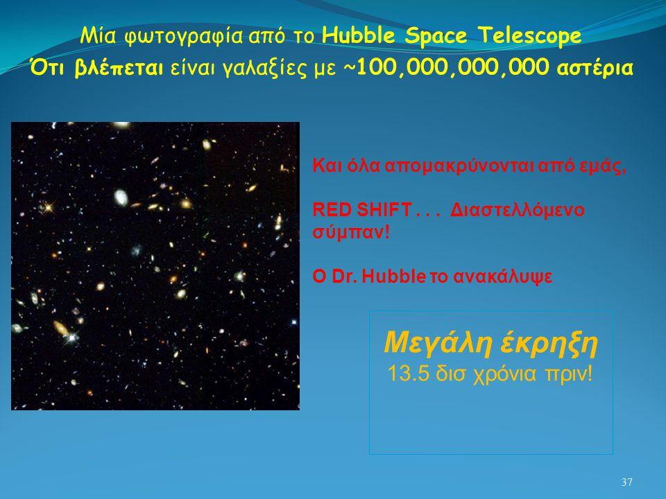 37 Μία φωτογραφία από το Hubble Space Telescope Ότι βλέπεται είναι γαλαξίες με ~100,000,000,000 αστέρια Μεγάλη έκρηξη 13.5 δισ χρόνια πριν! Και όλα απ