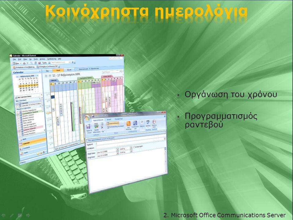  Οργάνωση καθημερινών εργασιών  Ανάθεση εργασιών 2. Microsoft Office Communications Server