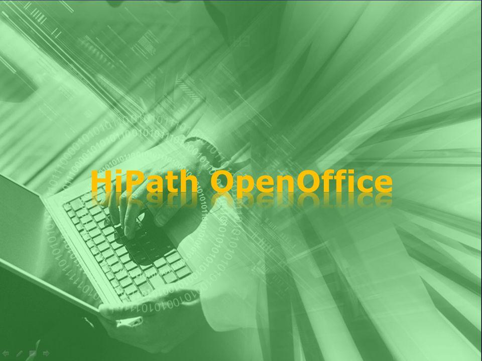  To HiPath OpenOffice είναι: Μία εφαρμογή ενοποιημένων επικοινωνιών εύχρηστη, με ενσωματωμένες υπηρεσίες ομιλίας και συνδιάσκεψης, τηλεφωνητή, αποστολής μηνυμάτων, φορητότητας, και παρουσίας για εταιρείες με 20-150 χρήστες.