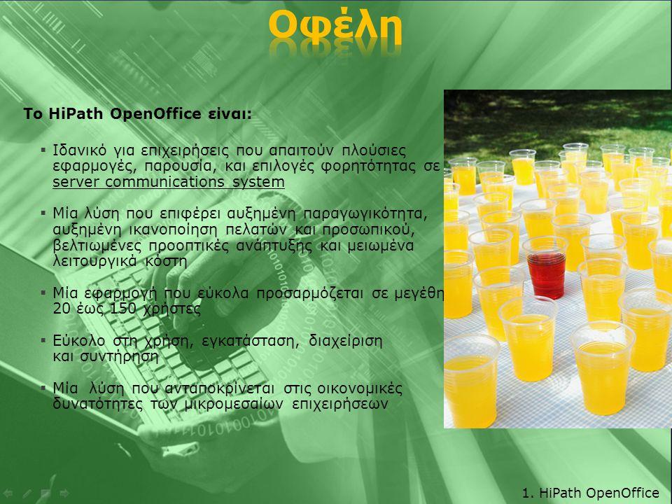 Το HiPath OpenOffice είναι:  Ιδανικό για επιχειρήσεις που απαιτούν πλούσιες εφαρμογές, παρουσία, και επιλογές φορητότητας σε ένα server communications system  Μία λύση που επιφέρει αυξημένη παραγωγικότητα, αυξημένη ικανοποίηση πελατών και προσωπικού, βελτιωμένες προοπτικές ανάπτυξης και μειωμένα λειτουργικά κόστη  Μία εφαρμογή που εύκολα προσαρμόζεται σε μεγέθη από 20 έως 150 χρήστες  Εύκολο στη χρήση, εγκατάσταση, διαχείριση και συντήρηση  Μία λύση που ανταποκρίνεται στις οικονομικές δυνατότητες των μικρομεσαίων επιχειρήσεων 1.