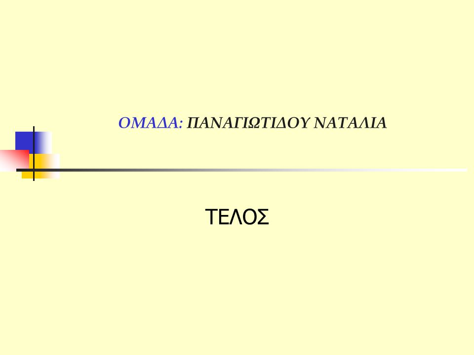 ΟΜΑΔΑ: ΠΑΝΑΓΙΩΤΙΔΟΥ ΝΑΤΑΛΙΑ ΤΕΛΟΣ