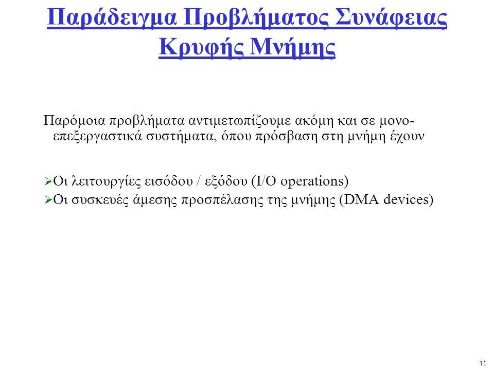 11 Παράδειγμα Προβλήματος Συνάφειας Κρυφής Μνήμης Παρόμοια προβλήματα αντιμετωπίζουμε ακόμη και σε μονο- επεξεργαστικά συστήματα, όπου πρόσβαση στη μνήμη έχουν  Οι λειτουργίες εισόδου / εξόδου (I/O operations)  Οι συσκευές άμεσης προσπέλασης της μνήμης (DMA devices)