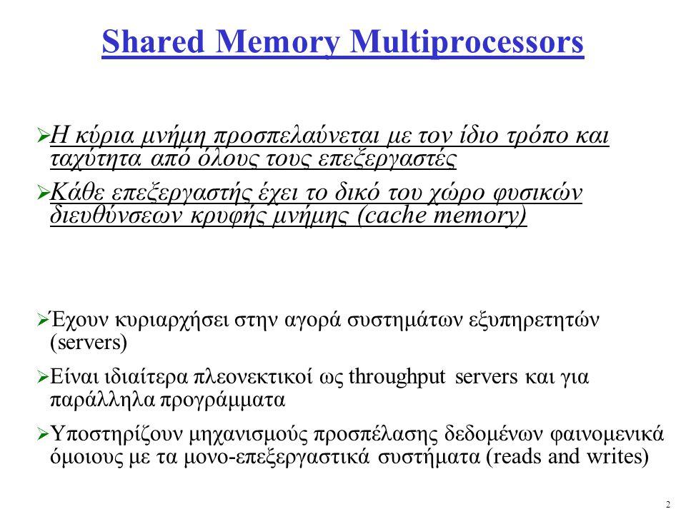 2 Shared Memory Multiprocessors  Η κύρια μνήμη προσπελαύνεται με τον ίδιο τρόπο και ταχύτητα από όλους τους επεξεργαστές  Κάθε επεξεργαστής έχει το δικό του χώρο φυσικών διευθύνσεων κρυφής μνήμης (cache memory)  Έχουν κυριαρχήσει στην αγορά συστημάτων εξυπηρετητών (servers)  Είναι ιδιαίτερα πλεονεκτικοί ως throughput servers και για παράλληλα προγράμματα  Υποστηρίζουν μηχανισμούς προσπέλασης δεδομένων φαινομενικά όμοιους με τα μονο-επεξεργαστικά συστήματα (reads and writes)