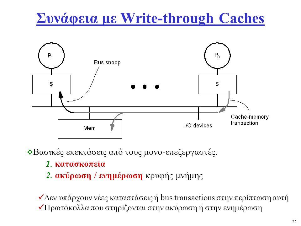 22 Συνάφεια με Write-through Caches  Βασικές επεκτάσεις από τους μονο-επεξεργαστές: 1.