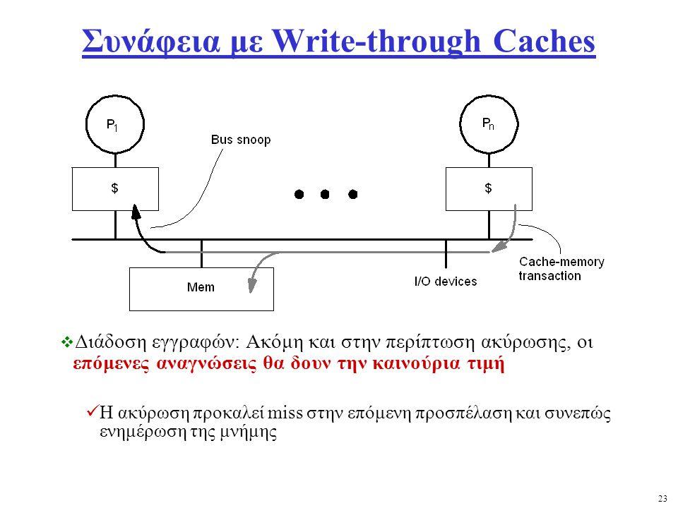 23 Συνάφεια με Write-through Caches  Διάδοση εγγραφών: Ακόμη και στην περίπτωση ακύρωσης, οι επόμενες αναγνώσεις θα δουν την καινούρια τιμή Η ακύρωση προκαλεί miss στην επόμενη προσπέλαση και συνεπώς ενημέρωση της μνήμης