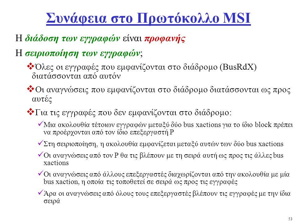 53 Συνάφεια στο Πρωτόκολλο MSI Η διάδοση των εγγραφών είναι προφανής Η σειριοποίηση των εγγραφών;  Όλες οι εγγραφές που εμφανίζονται στο διάδρομο (BusRdX) διατάσσονται από αυτόν  Οι αναγνώσεις που εμφανίζονται στο διάδρομο διατάσσονται ως προς αυτές  Για τις εγγραφές που δεν εμφανίζονται στο διάδρομο: Μια ακολουθία τέτοιων εγγραφών μεταξύ δύο bus xactions για το ίδιο block πρέπει να προέρχονται από τον ίδιο επεξεργαστή P Στη σειριοποίηση, η ακολουθία εμφανίζεται μεταξύ αυτών των δύο bus xactions Οι αναγνώσεις από τον Ρ θα τις βλέπουν με τη σειρά αυτή ως προς τις άλλες bus xactions Οι αναγνώσεις από άλλους επεξεργαστές διαχωρίζονται από την ακολουθία με μία bus xaction, η οποία τις τοποθετεί σε σειρά ως προς τις εγγραφές Άρα οι αναγνώσεις από όλους τους επεξεργαστές βλέπουν τις εγγραφές με την ίδια σειρά