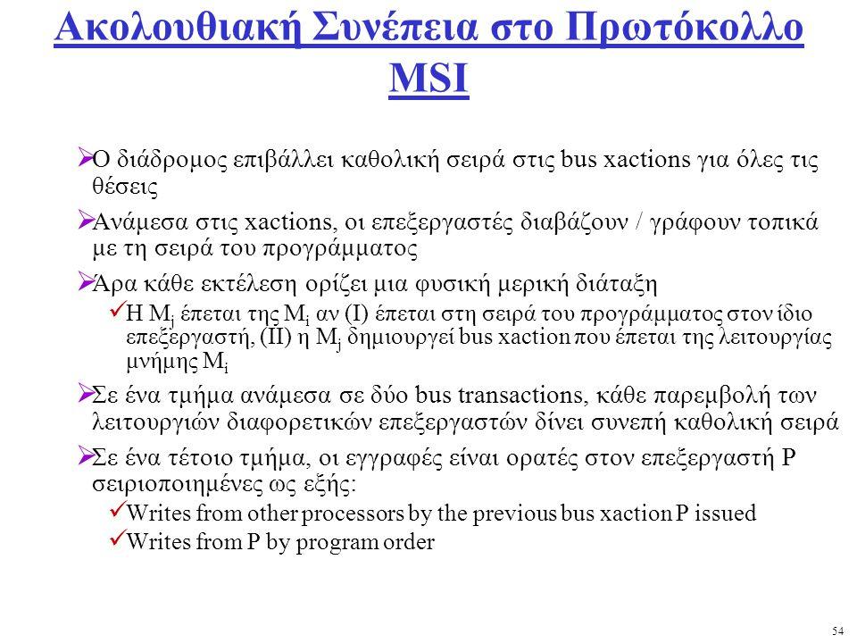 54 Ακολουθιακή Συνέπεια στο Πρωτόκολλο MSI  Ο διάδρομος επιβάλλει καθολική σειρά στις bus xactions για όλες τις θέσεις  Ανάμεσα στις xactions, οι επεξεργαστές διαβάζουν / γράφουν τοπικά με τη σειρά του προγράμματος  Άρα κάθε εκτέλεση ορίζει μια φυσική μερική διάταξη Η M j έπεται της M i αν (I) έπεται στη σειρά του προγράμματος στον ίδιο επεξεργαστή, (ΙΙ) η M j δημιουργεί bus xaction που έπεται της λειτουργίας μνήμης M i  Σε ένα τμήμα ανάμεσα σε δύο bus transactions, κάθε παρεμβολή των λειτουργιών διαφορετικών επεξεργαστών δίνει συνεπή καθολική σειρά  Σε ένα τέτοιο τμήμα, οι εγγραφές είναι ορατές στον επεξεργαστή P σειριοποιημένες ως εξής: Writes from other processors by the previous bus xaction P issued Writes from P by program order