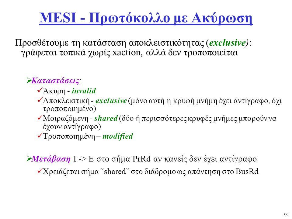 56 MESI - Πρωτόκολλο με Ακύρωση Προσθέτουμε τη κατάσταση αποκλειστικότητας (exclusive): γράφεται τοπικά χωρίς xaction, αλλά δεν τροποποιείται  Καταστάσεις: Άκυρη - invalid Αποκλειστική - exclusive (μόνο αυτή η κρυφή μνήμη έχει αντίγραφο, όχι τροποποιημένο) Μοιραζόμενη - shared (δύο ή περισσότερες κρυφές μνήμες μπορούν να έχουν αντίγραφο) Τροποποιημένη – modified  Μετάβαση I -> E στο σήμα PrRd αν κανείς δεν έχει αντίγραφο Χρειάζεται σήμα shared στο διάδρομο ως απάντηση στο BusRd