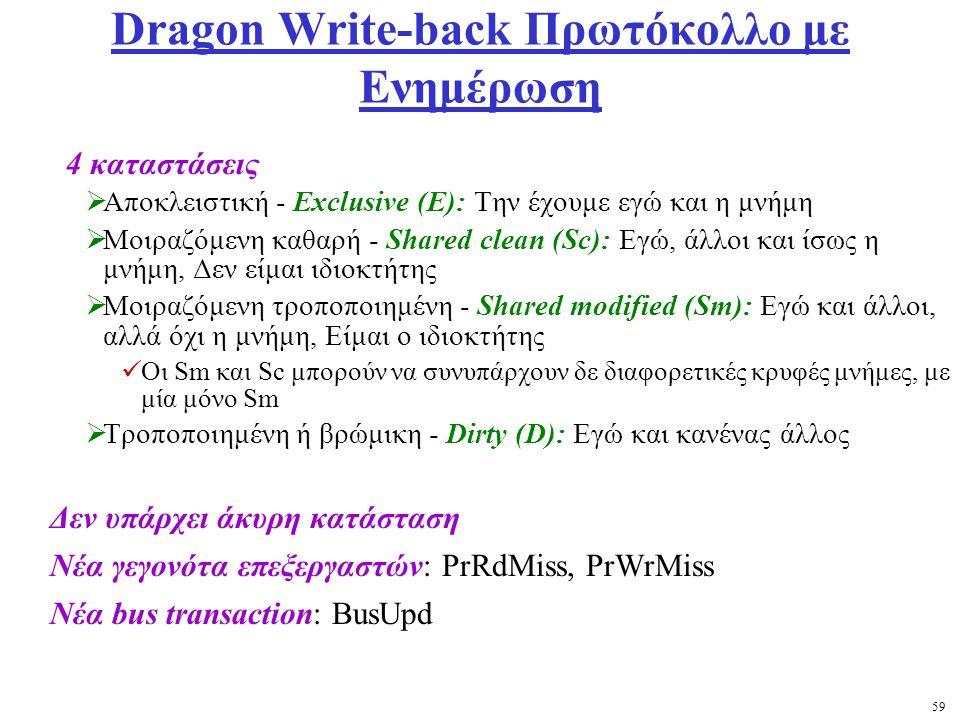 59 Dragon Write-back Πρωτόκολλο με Ενημέρωση 4 καταστάσεις  Αποκλειστική - Exclusive (E): Την έχουμε εγώ και η μνήμη  Μοιραζόμενη καθαρή - Shared clean (Sc): Εγώ, άλλοι και ίσως η μνήμη, Δεν είμαι ιδιοκτήτης  Μοιραζόμενη τροποποιημένη - Shared modified (Sm): Εγώ και άλλοι, αλλά όχι η μνήμη, Είμαι ο ιδιοκτήτης Οι Sm και Sc μπορούν να συνυπάρχουν δε διαφορετικές κρυφές μνήμες, με μία μόνο Sm  Τροποποιημένη ή βρώμικη - Dirty (D): Εγώ και κανένας άλλος Δεν υπάρχει άκυρη κατάσταση Νέα γεγονότα επεξεργαστών: PrRdMiss, PrWrMiss Νέα bus transaction: BusUpd