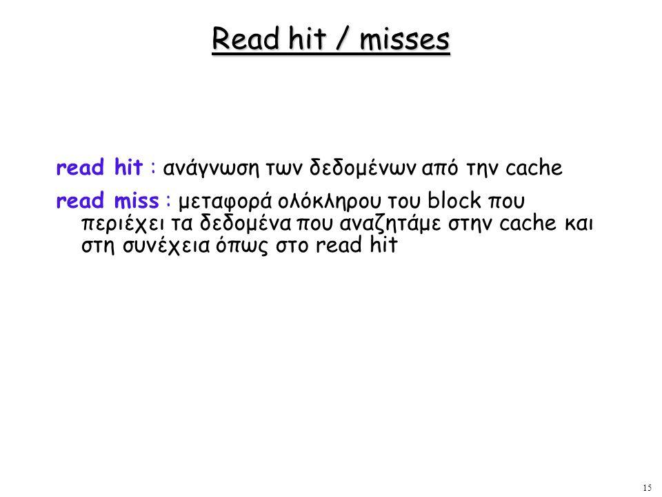 15 Read hit / misses read hit : ανάγνωση των δεδομένων από την cache read miss : μεταφορά ολόκληρου του block που περιέχει τα δεδομένα που αναζητάμε σ