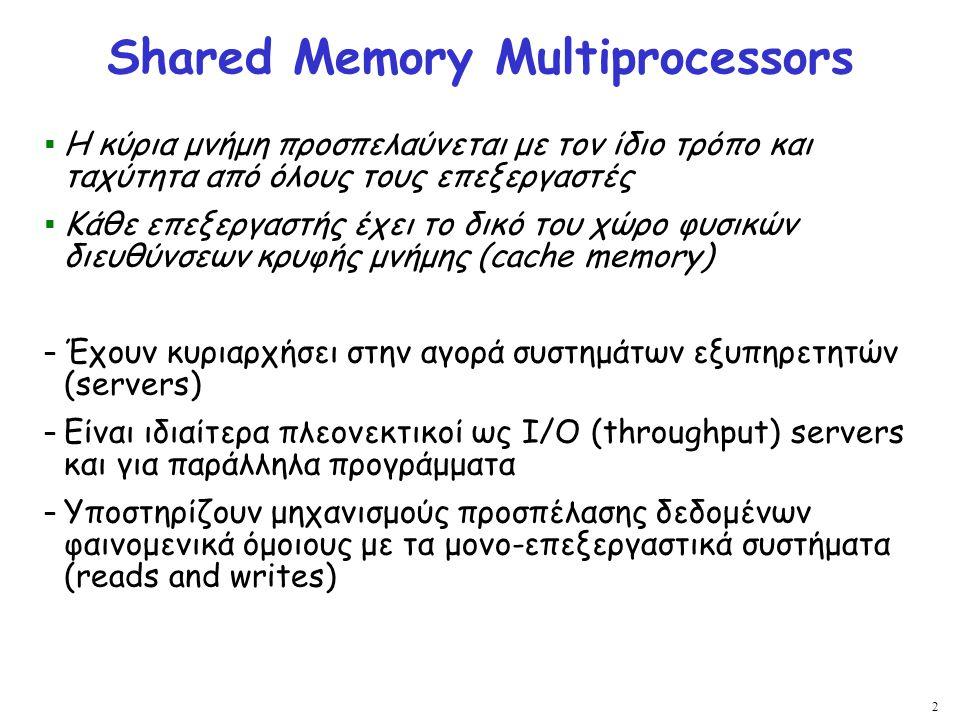 2 Shared Memory Multiprocessors  Η κύρια μνήμη προσπελαύνεται με τον ίδιο τρόπο και ταχύτητα από όλους τους επεξεργαστές  Κάθε επεξεργαστής έχει το