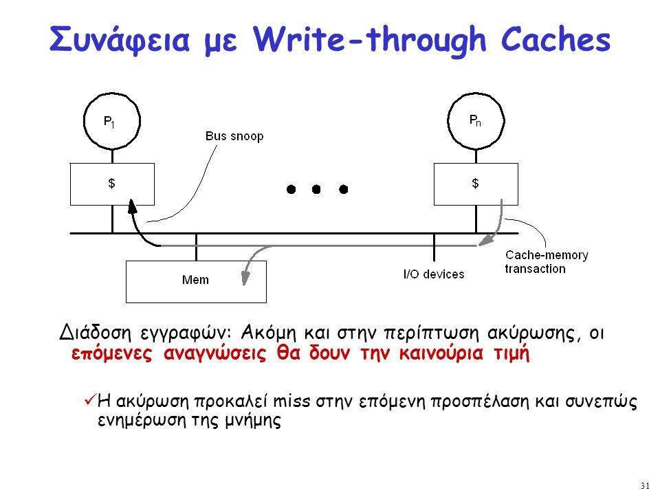 31 Συνάφεια με Write-through Caches Διάδοση εγγραφών: Ακόμη και στην περίπτωση ακύρωσης, οι επόμενες αναγνώσεις θα δουν την καινούρια τιμή Η ακύρωση π