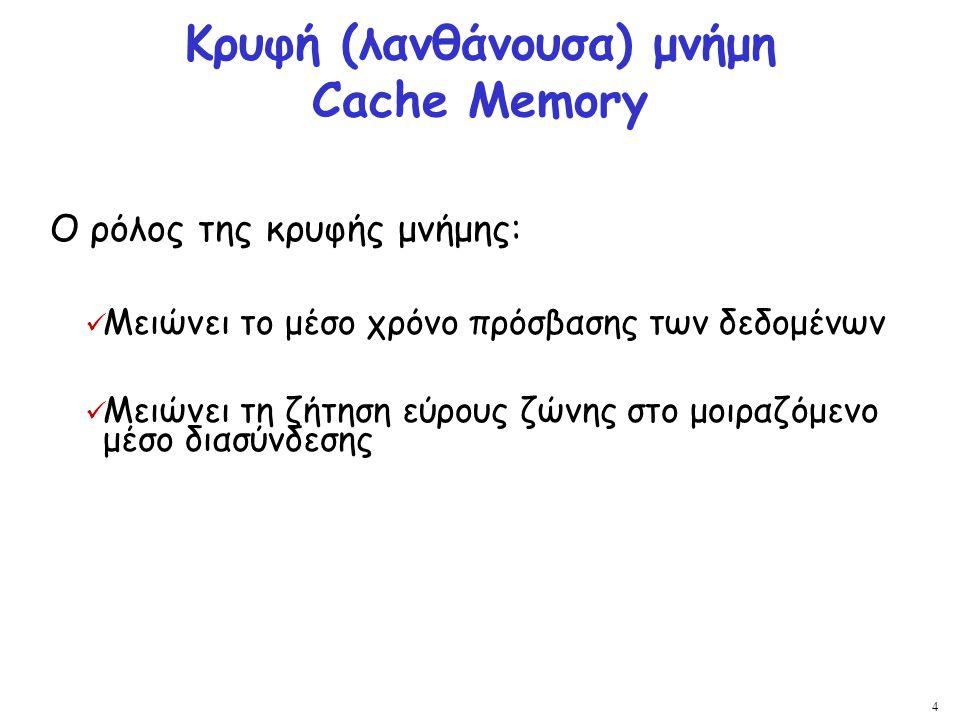 4 Κρυφή (λανθάνουσα) μνήμη Cache Memory Ο ρόλος της κρυφής μνήμης: Μειώνει το μέσο χρόνο πρόσβασης των δεδομένων Μειώνει τη ζήτηση εύρους ζώνης στο μο