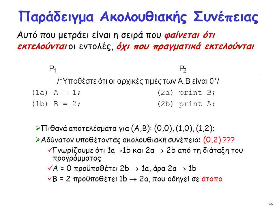 46 Παράδειγμα Ακολουθιακής Συνέπειας  Πιθανά αποτελέσματα για (A,B): (0,0), (1,0), (1,2);  Αδύνατον υποθέτοντας ακολουθιακή συνέπεια: (0,2) ??? Γνωρ