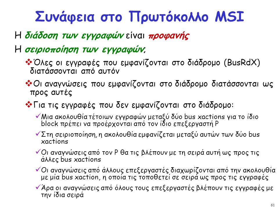 61 Συνάφεια στο Πρωτόκολλο MSI Η διάδοση των εγγραφών είναι προφανής Η σειριοποίηση των εγγραφών;  Όλες οι εγγραφές που εμφανίζονται στο διάδρομο (Bu