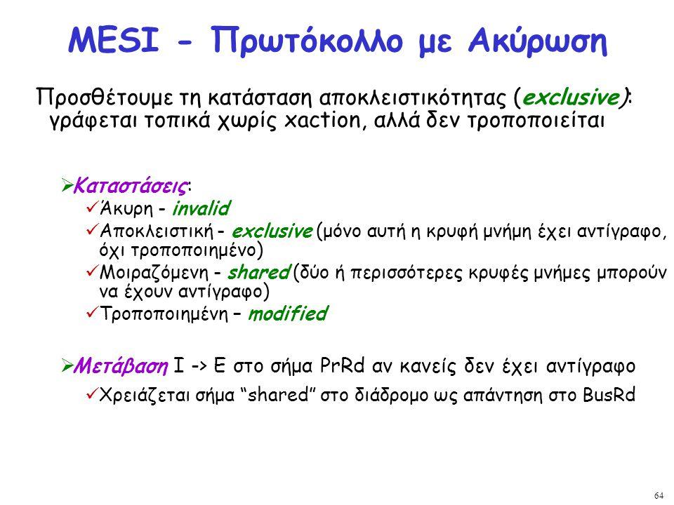 64 MESI - Πρωτόκολλο με Ακύρωση Προσθέτουμε τη κατάσταση αποκλειστικότητας (exclusive): γράφεται τοπικά χωρίς xaction, αλλά δεν τροποποιείται  Καταστ