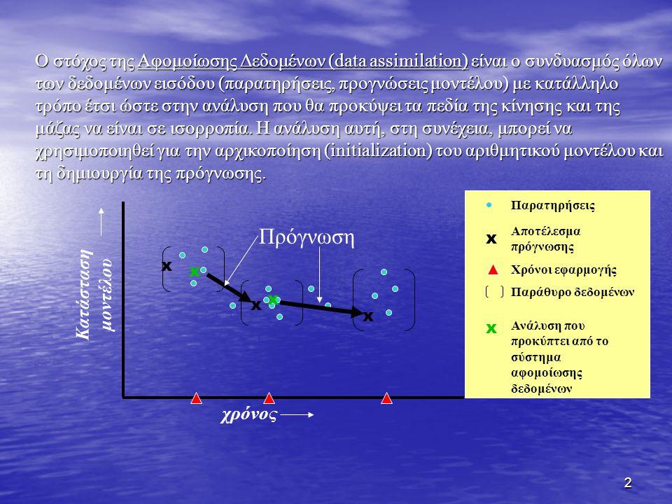 2 x Παρατηρήσεις Αποτέλεσμα πρόγνωσης Χρόνοι εφαρμογής Παράθυρο δεδομένων χρόνος Κατάσταση μοντέλου x x Πρόγνωση x x x x Ανάλυση που προκύπτει από το σύστημα αφομοίωσης δεδομένων Ο στόχος της Αφομοίωσης Δεδομένων (data assimilation) είναι ο συνδυασμός όλων των δεδομένων εισόδου (παρατηρήσεις, προγνώσεις μοντέλου) με κατάλληλο τρόπο έτσι ώστε στην ανάλυση που θα προκύψει τα πεδία της κίνησης και της μάζας να είναι σε ισορροπία.