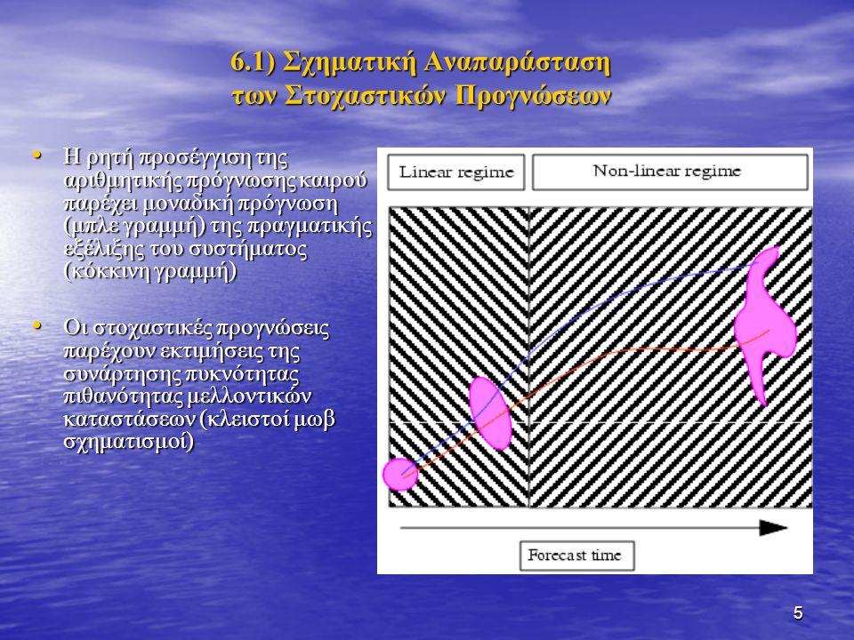5 6.1) Σχηματική Αναπαράσταση των Στοχαστικών Προγνώσεων Η ρητή προσέγγιση της αριθμητικής πρόγνωσης καιρού παρέχει μοναδική πρόγνωση (μπλε γραμμή) της πραγματικής εξέλιξης του συστήματος (κόκκινη γραμμή) Η ρητή προσέγγιση της αριθμητικής πρόγνωσης καιρού παρέχει μοναδική πρόγνωση (μπλε γραμμή) της πραγματικής εξέλιξης του συστήματος (κόκκινη γραμμή) Οι στοχαστικές προγνώσεις παρέχουν εκτιμήσεις της συνάρτησης πυκνότητας πιθανότητας μελλοντικών καταστάσεων (κλειστοί μωβ σχηματισμοί) Οι στοχαστικές προγνώσεις παρέχουν εκτιμήσεις της συνάρτησης πυκνότητας πιθανότητας μελλοντικών καταστάσεων (κλειστοί μωβ σχηματισμοί)