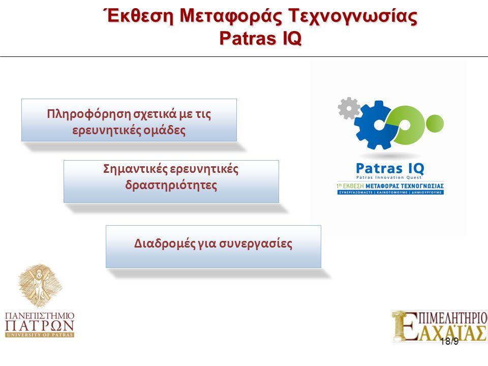 Έκθεση Μεταφοράς Τεχνογνωσίας Patras IQ 7/7 Πληροφόρηση σχετικά με τις ερευνητικές ομάδες Σημαντικές ερευνητικές δραστηριότητες Διαδρομές για συνεργασίες 18/9