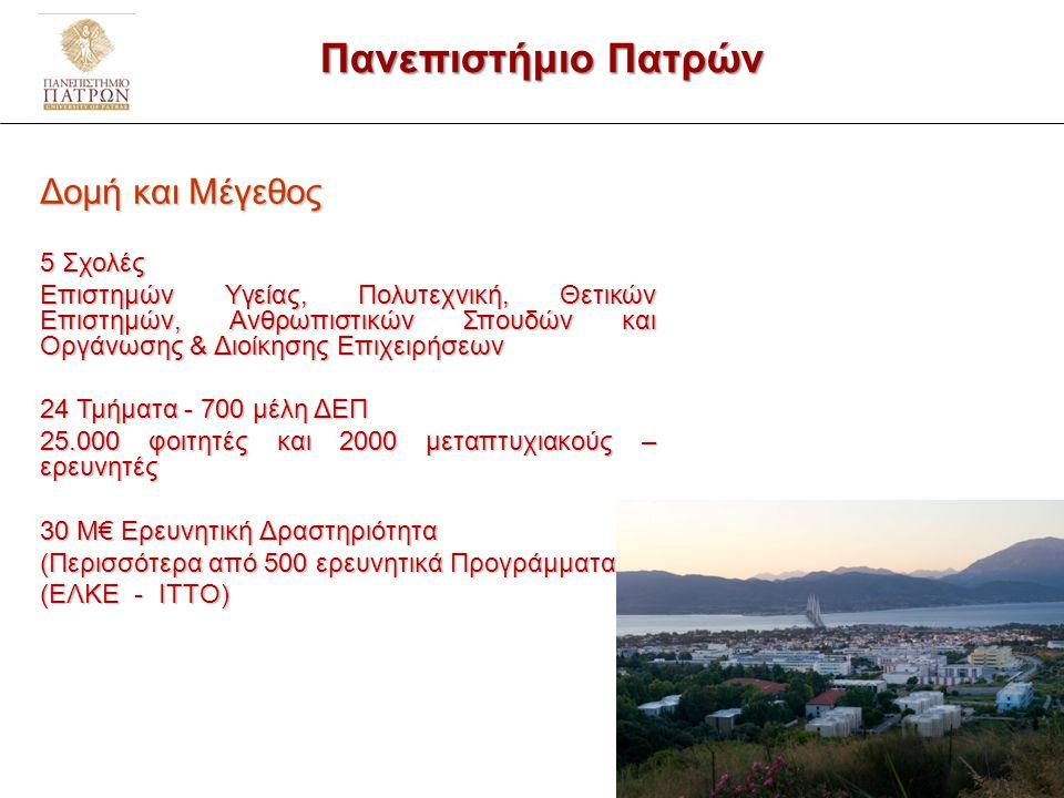 Δομή & Οργάνωση του Ερευνητικού Δυναμικού στο Πανεπιστήμιο Πατρών 2/9 3/23
