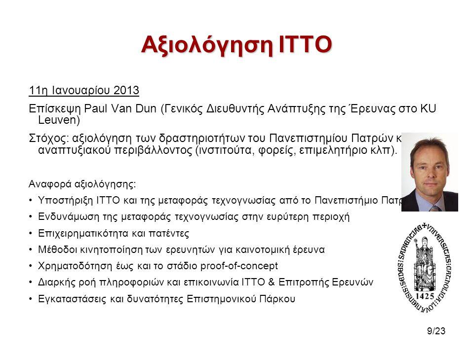 Αξιολόγηση ΙΤΤΟ 11η Ιανουαρίου 2013 Επίσκεψη Paul Van Dun (Γενικός Διευθυντής Ανάπτυξης της Έρευνας στο KU Leuven) Στόχος: αξιολόγηση των δραστηριοτήτ