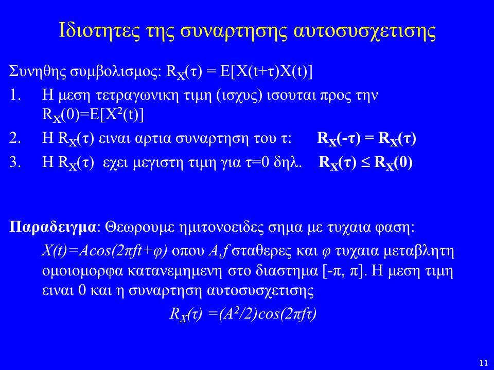 11 Ιδιοτητες της συναρτησης αυτοσυσχετισης Συνηθης συμβολισμος: R X (τ) = E[X(t+τ)X(t)] 1.Η μεση τετραγωνικη τιμη (ισχυς) ισουται προς την R X (0)=E[X
