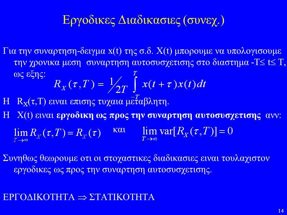 14 Εργοδικες Διαδικασιες (συνεχ.) Για την συναρτηση-δειγμα x(t) της σ.δ. X(t) μπορουμε να υπολογισουμε την χρονικα μεση συναρτηση αυτοσυσχετισης στο δ