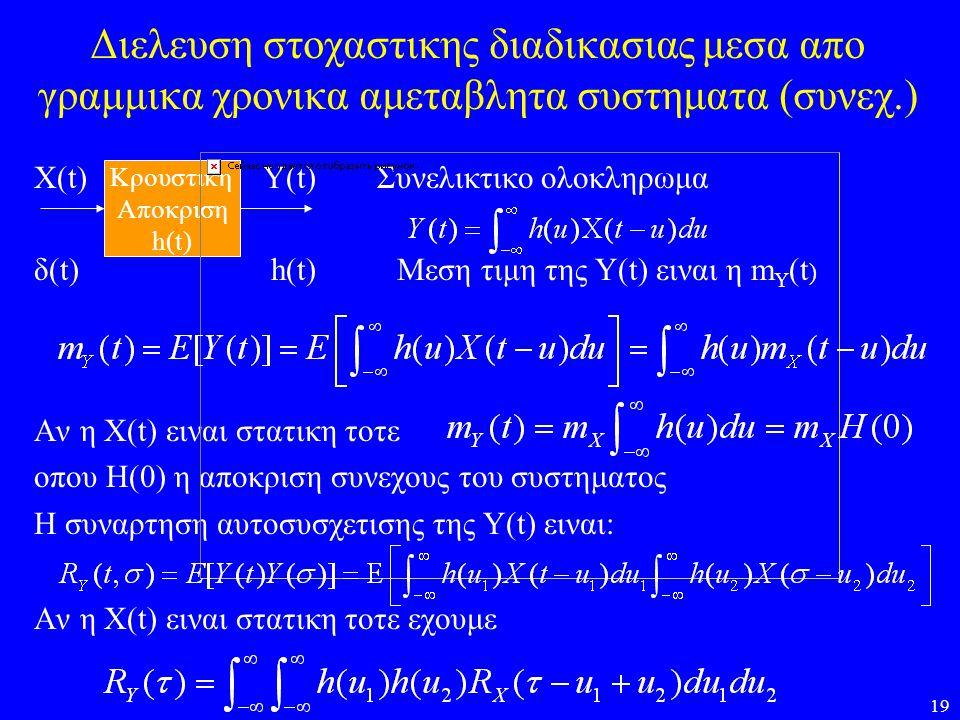 19 Διελευση στοχαστικης διαδικασιας μεσα απο γραμμικα χρονικα αμεταβλητα συστηματα (συνεχ.) X(t) Y(t) Συνελικτικο ολοκληρωμα δ(t) h(t) Μεση τιμη της Υ