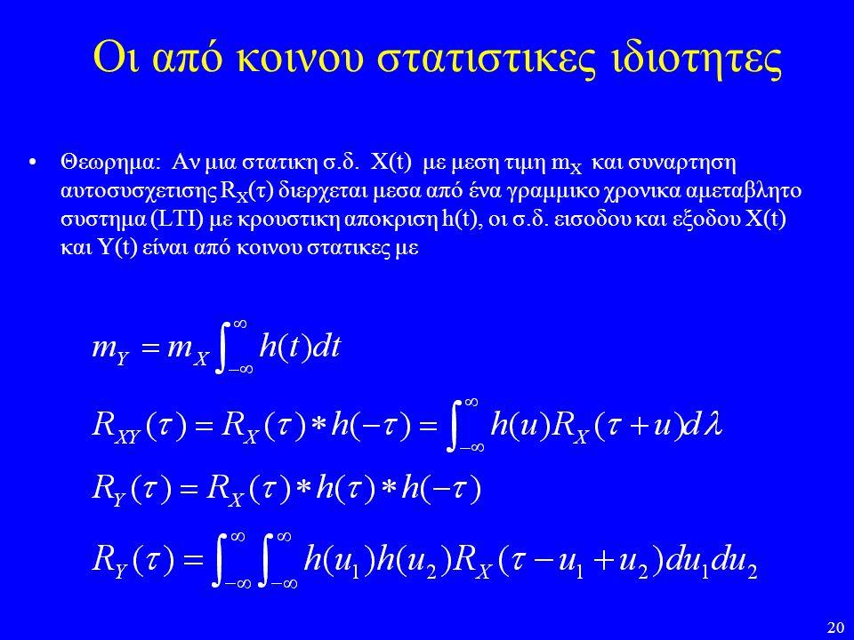 20 Οι από κοινου στατιστικες ιδιοτητες Θεωρημα: Αν μια στατικη σ.δ. X(t) με μεση τιμη m X και συναρτηση αυτοσυσχετισης R X (τ) διερχεται μεσα από ένα