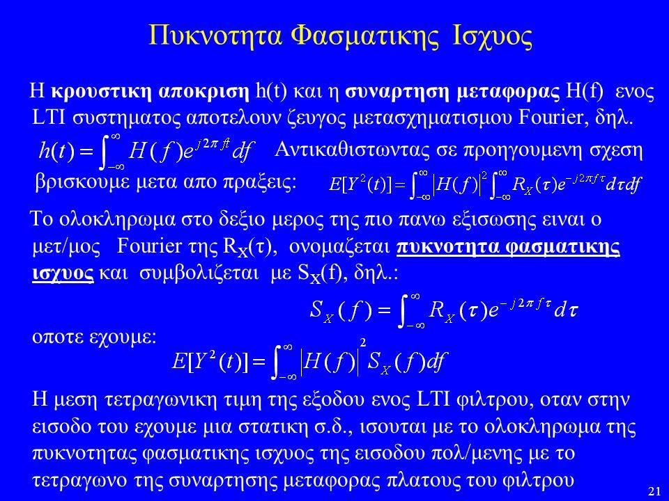 21 Πυκνοτητα Φασματικης Ισχυος Η κρουστικη αποκριση h(t) και η συναρτηση μεταφορας Η(f) ενος LTI συστηματος αποτελουν ζευγος μετασχηματισμου Fourier,