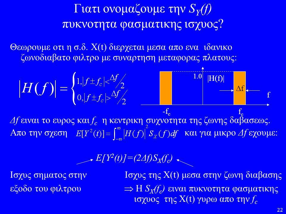 22 Γιατι ονομαζουμε την S Y (f) πυκνοτητα φασματικης ισχυος? Θεωρουμε οτι η σ.δ. X(t) διερχεται μεσα απο ενα ιδανικο ζωνοδιαβατο φιλτρο με συναρτηση μ