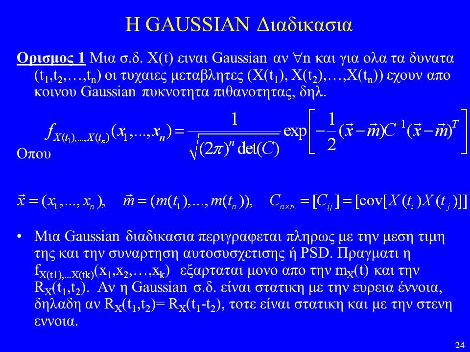 24 H GAUSSIAN Διαδικασια Ορισμος 1 Μια σ.δ. X(t) ειναι Gaussian αν  n και για ολα τα δυνατα (t 1,t 2,…,t n ) οι τυχαιες μεταβλητες (X(t 1 ), X(t 2 ),