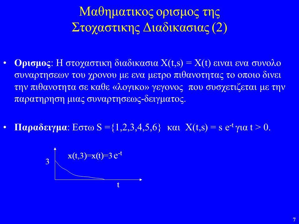 7 Μαθηματικος ορισμος της Στοχαστικης Διαδικασιας (2) Ορισμος: Η στοχαστικη διαδικασια X(t,s) = X(t) ειναι ενα συνολο συναρτησεων του χρονου με ενα με