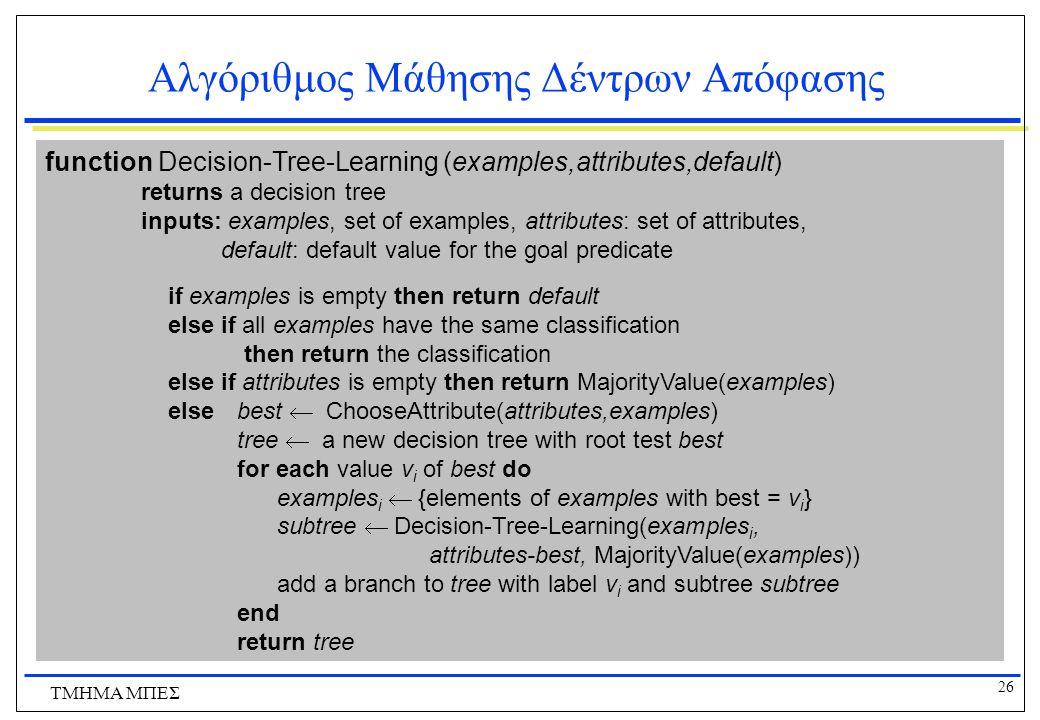 26 ΤΜΗΜΑ ΜΠΕΣ Αλγόριθμος Μάθησης Δέντρων Απόφασης function Decision-Tree-Learning (examples,attributes,default) returns a decision tree inputs: exampl