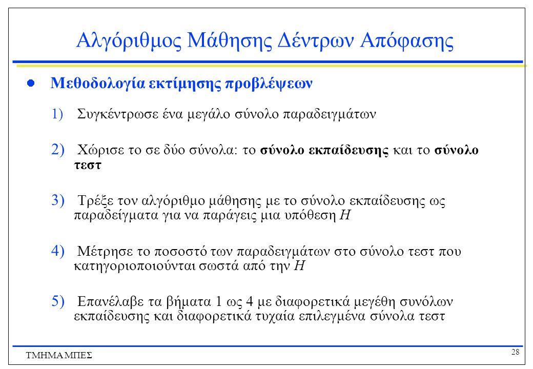 28 ΤΜΗΜΑ ΜΠΕΣ Αλγόριθμος Μάθησης Δέντρων Απόφασης Μεθοδολογία εκτίμησης προβλέψεων 1) Συγκέντρωσε ένα μεγάλο σύνολο παραδειγμάτων 2) Χώρισε το σε δύο