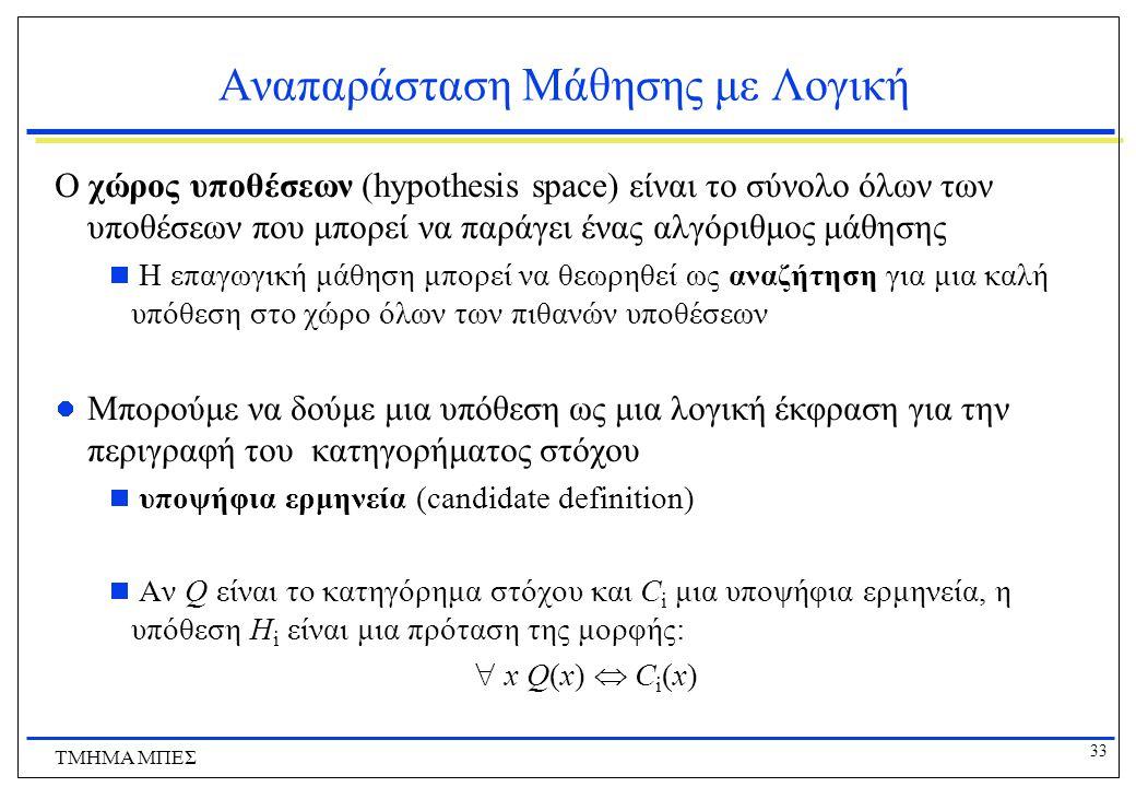 33 ΤΜΗΜΑ ΜΠΕΣ Αναπαράσταση Μάθησης με Λογική Ο χώρος υποθέσεων (hypothesis space) είναι το σύνολο όλων των υποθέσεων που μπορεί να παράγει ένας αλγόρι