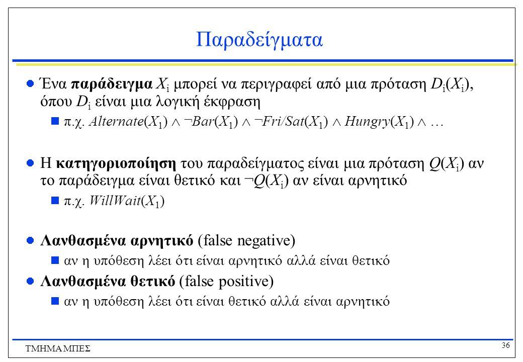 36 ΤΜΗΜΑ ΜΠΕΣ Παραδείγματα Ένα παράδειγμα Χ i μπορεί να περιγραφεί από μια πρόταση D i (X i ), όπου D i είναι μια λογική έκφραση  π.χ. Alternate(X 1