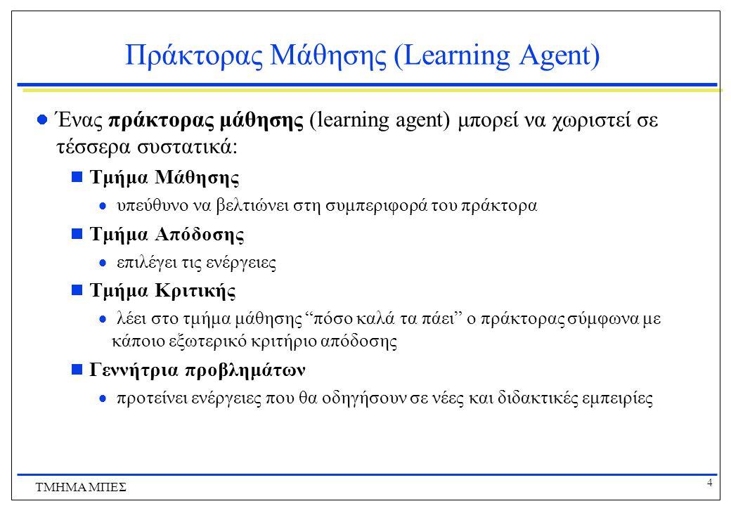 4 ΤΜΗΜΑ ΜΠΕΣ Πράκτορας Μάθησης (Learning Agent) Ένας πράκτορας μάθησης (learning agent) μπορεί να χωριστεί σε τέσσερα συστατικά:  Τμήμα Μάθησης  υπε