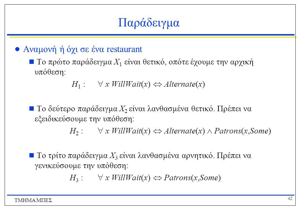 42 ΤΜΗΜΑ ΜΠΕΣ Παράδειγμα Αναμονή ή όχι σε ένα restaurant  Το πρώτο παράδειγμα X 1 είναι θετικό, οπότε έχουμε την αρχική υπόθεση: H 1 :  x WillWait(x