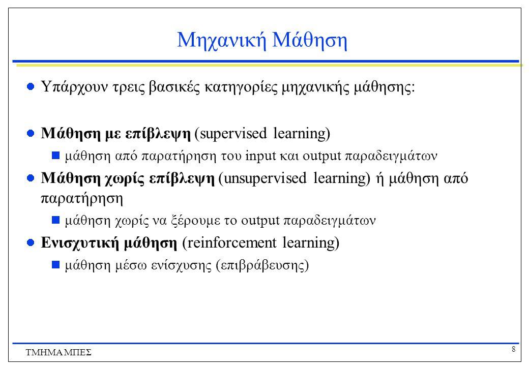 8 ΤΜΗΜΑ ΜΠΕΣ Μηχανική Μάθηση Υπάρχουν τρεις βασικές κατηγορίες μηχανικής μάθησης: Μάθηση με επίβλεψη (supervised learning)  μάθηση από παρατήρηση του