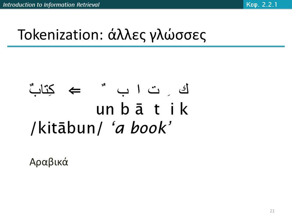 Introduction to Information Retrieval Tokenization: άλλες γλώσσες Κεφ. 2.2.1 21 Αραβικά