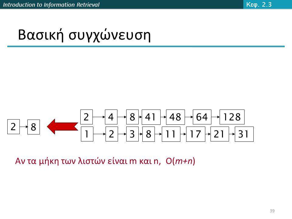 Introduction to Information Retrieval Βασική συγχώνευση 128 31 248414864 1238111721 Brutus Caesar 2 8 Αν τα μήκη των λιστών είναι m και n, O(m+n) Can