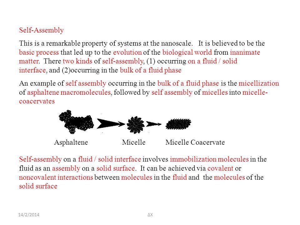 14/2/2014ΔΧ Self-Assembly This is a remarkable property of systems at the nanoscale.